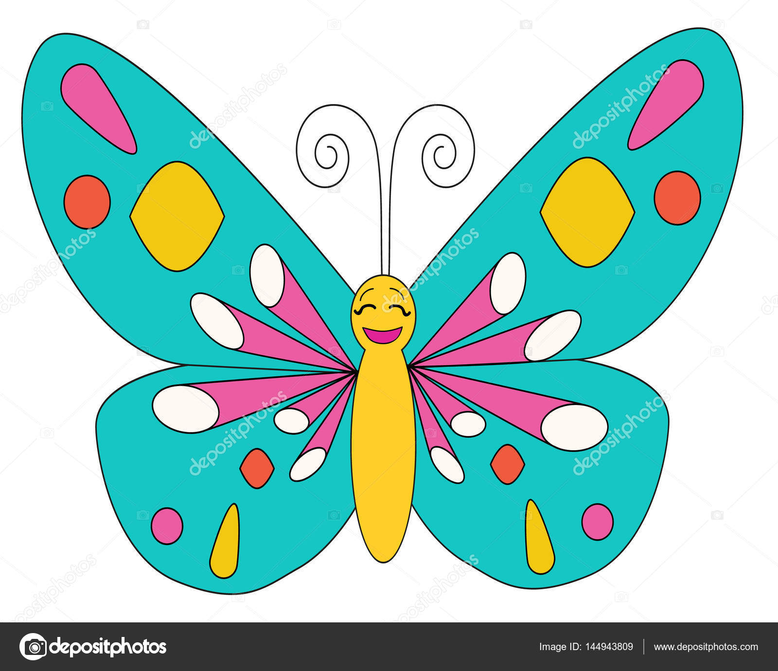 Butterfly Coloring Isolated Multi Colored Character Stock Vector