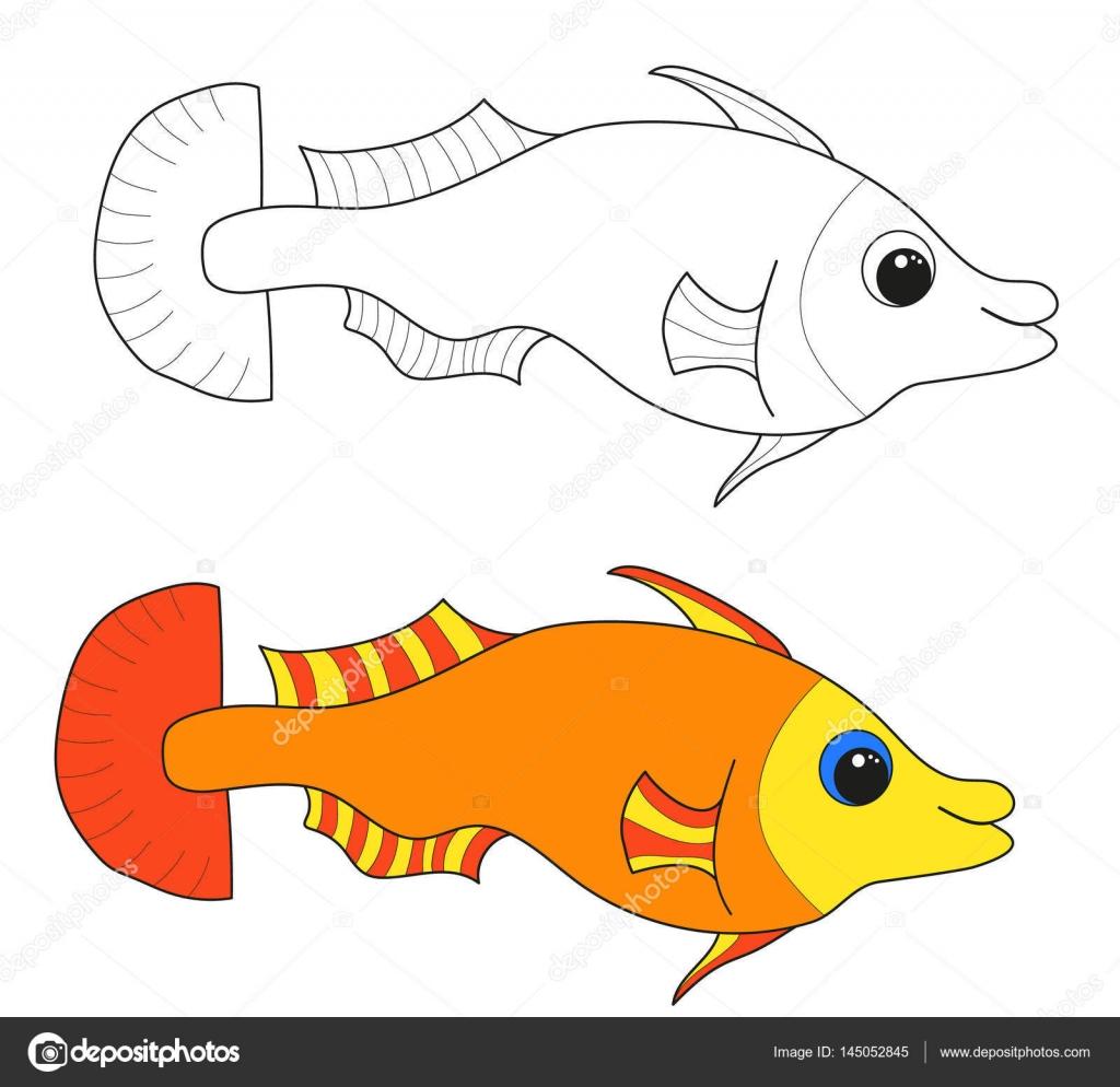 Pesce Disegni Da Colorare Il Mondo Sottomarino Colorato Vettoriali