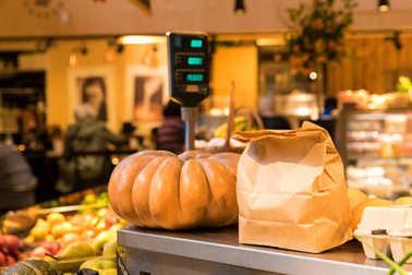 Pumpkin and craft package, fall weekend food market. How to choose a pumpkin
