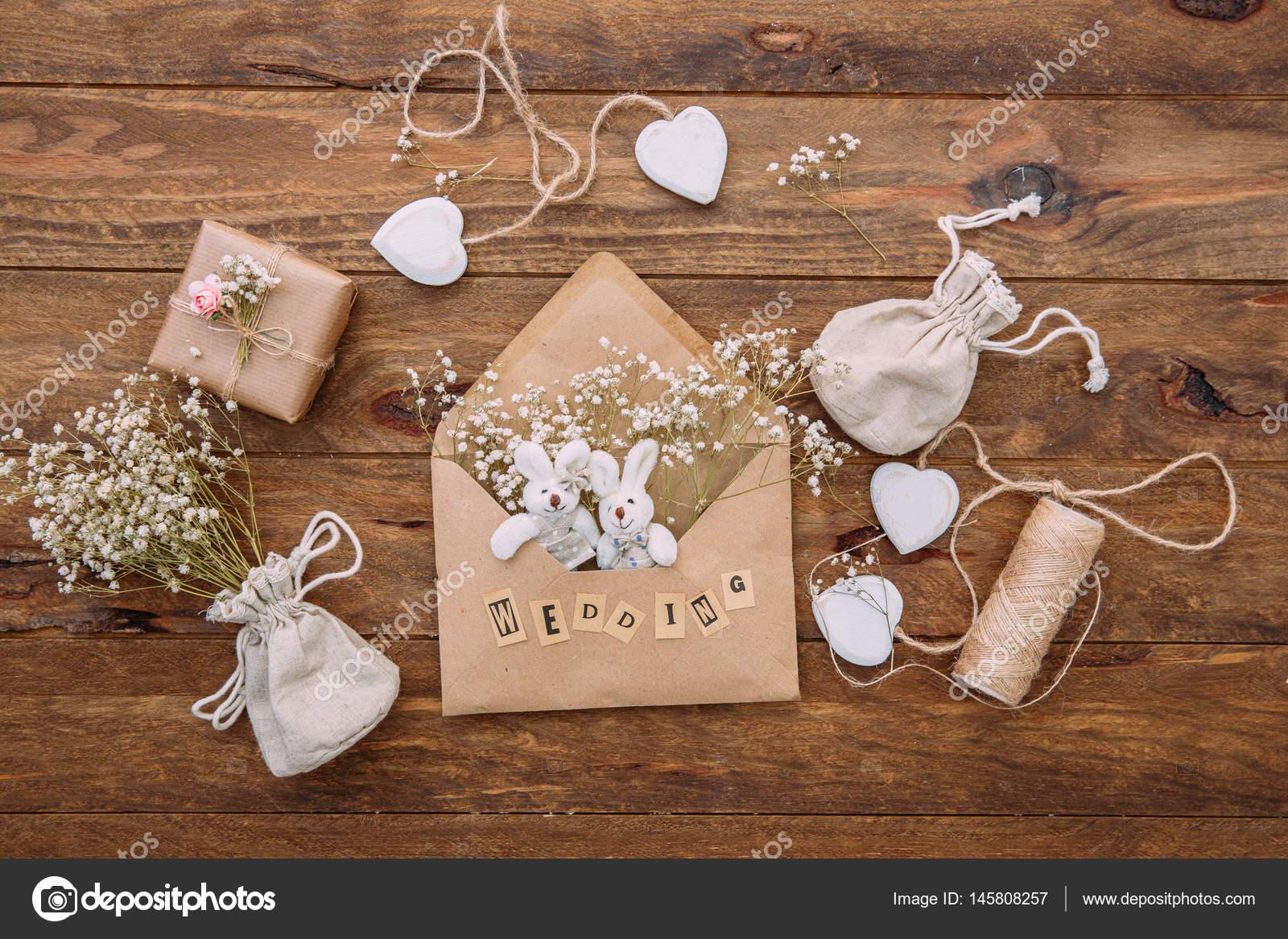 Wedding Invitation Cards Craft Envelopes Wooden Background Overhead ...