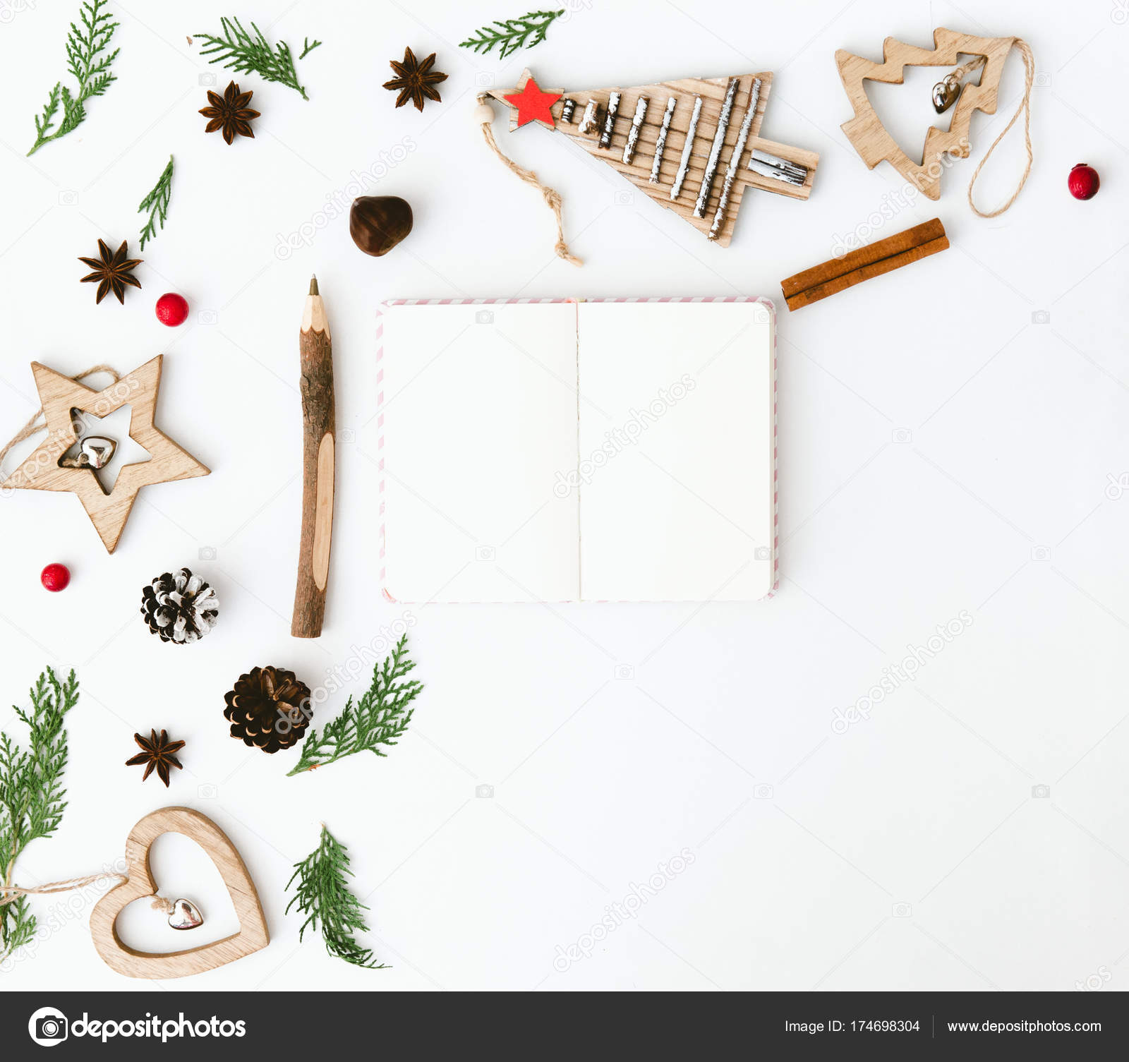 Christmas Composition Flat Lay With Decorations And Notebook Wish