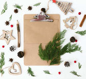 Fotografie Christmas composition. Flat lay with decorations .Wish list or goals concept