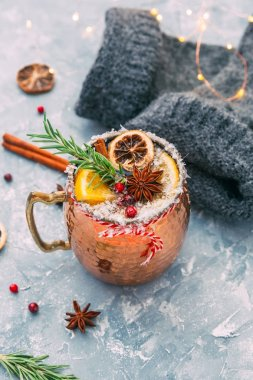 Mulled wine with lemon and spices. Christmas drink.