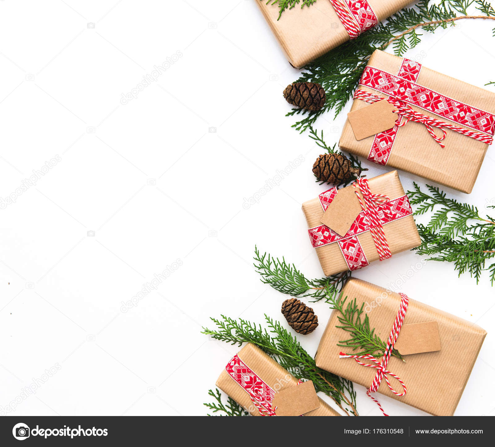 Christmas Gift Boxes Homemade Wrapping Ideas Flat Lay Stock Photo