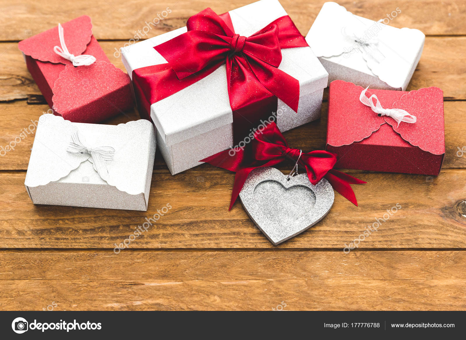 Wrapped Present Boxes Red Bow Wooden Board Holidays Concept Birthday