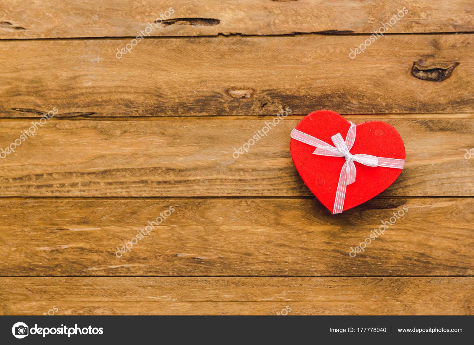 Heart Gift Wooden Background Presents Valentine Day Birthday Mother