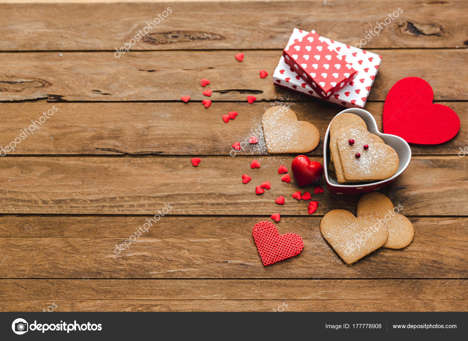 Heart Shaped Cookies Gifts Wooden Background Valentine Day Homemade