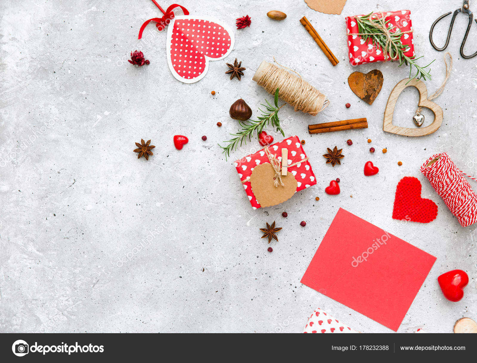 Valentine Day Composition Gift Boxes Card Template Decorations Flat