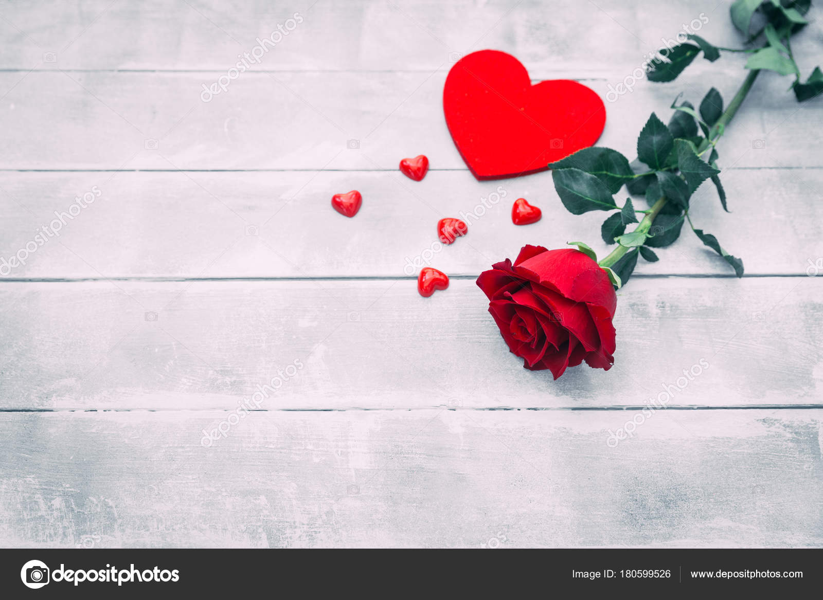 Red Rose Hearts Wooden Background Valentines Day Concept Stock