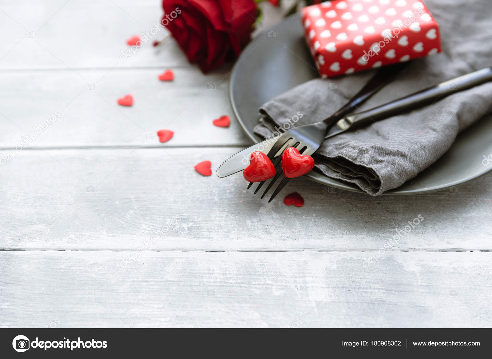 Romantic Dinner Concept Valentine Day Table Setting Background