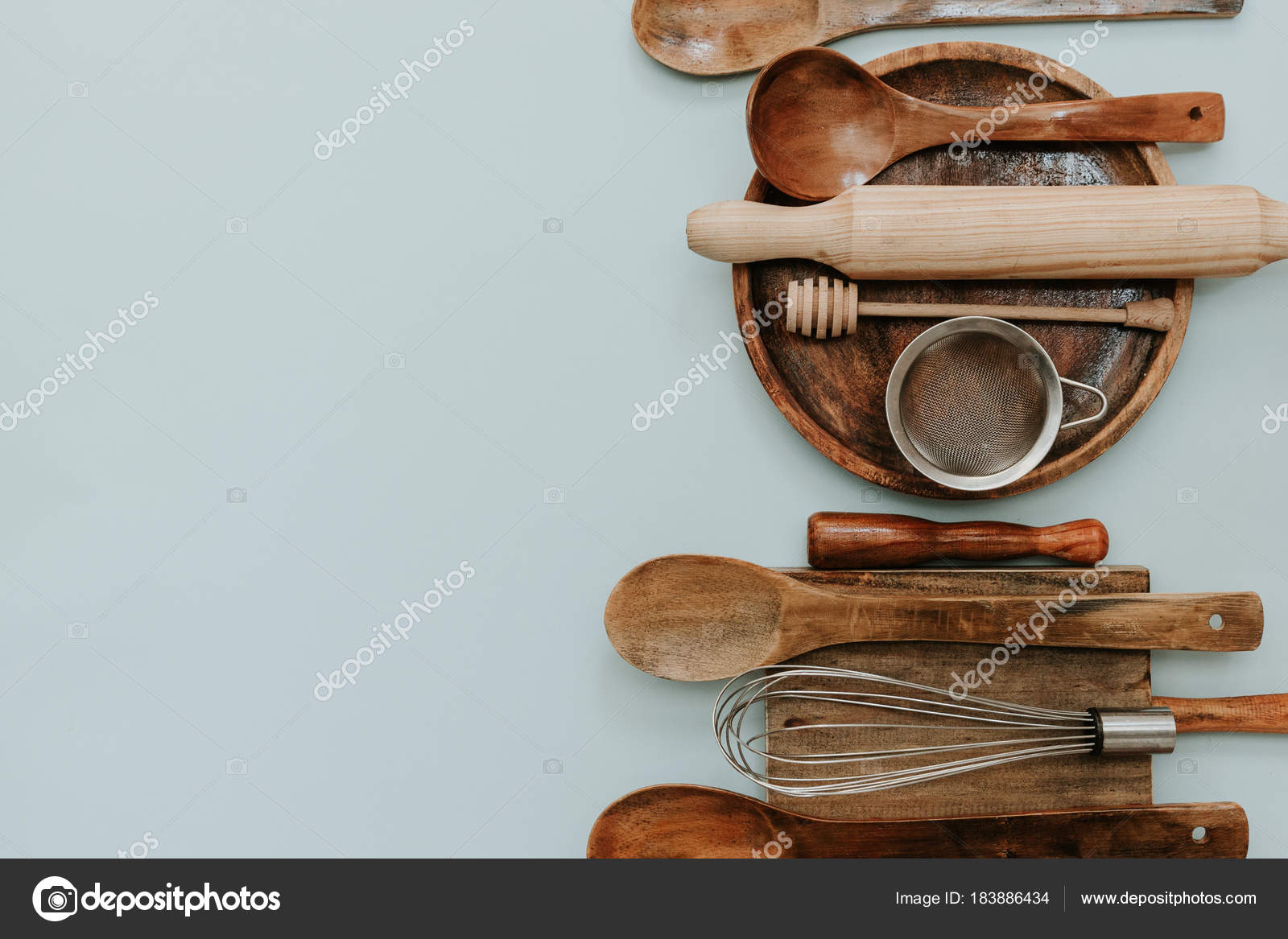 Bake Tools Set Pastel Background Top View Flat Lay Copy — Stock ...