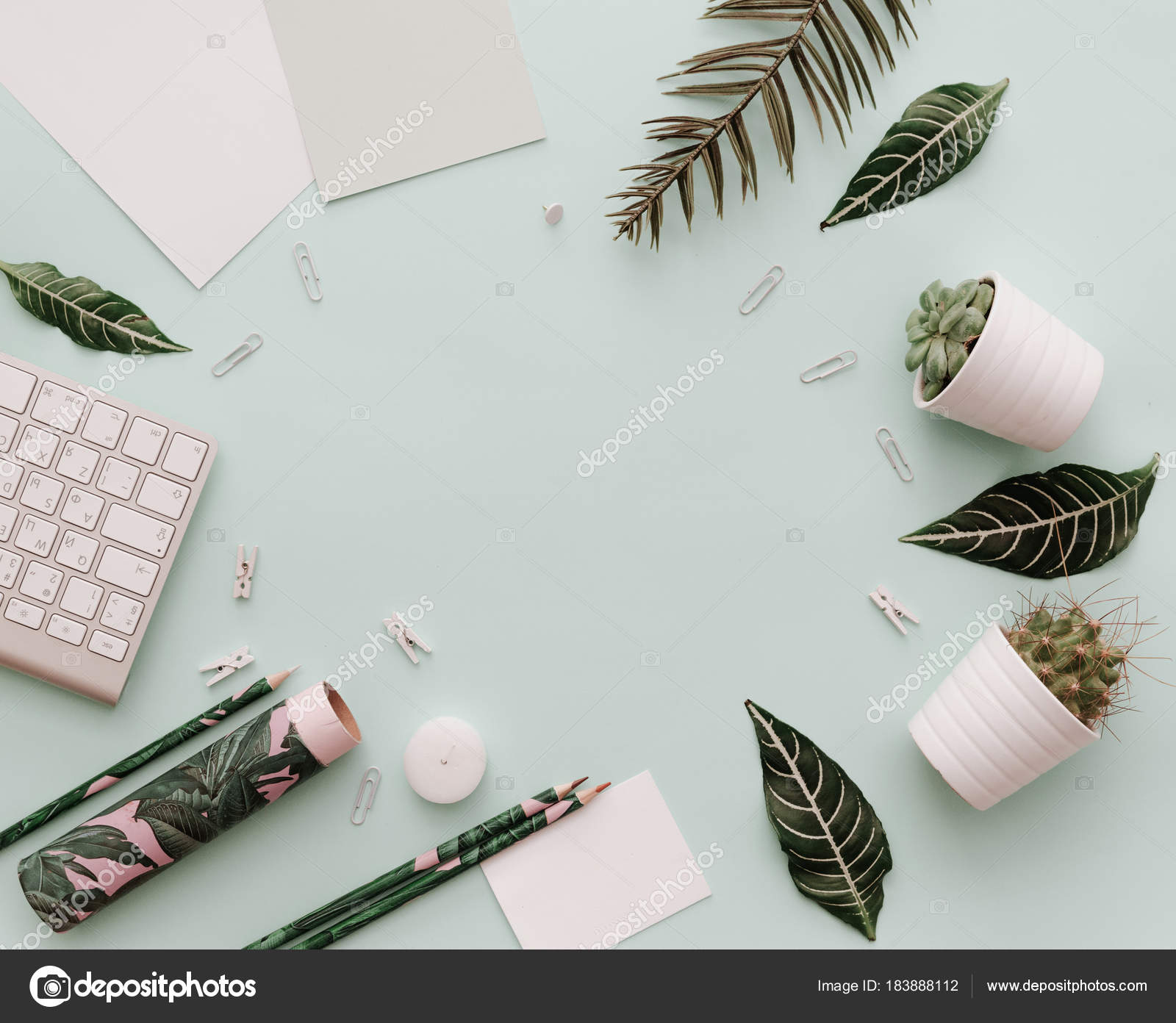 Home Pastel Office Desktop Green Tropical Leaves Keyboard Botanical Element Stock Photo C Victoriabee 183888112