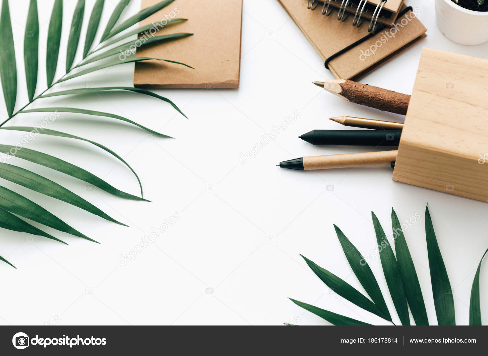 Minimal Office Desk Table Stationery Set Supplies Palm Leaves Top Stock Photo Image By C Victoriabee 186178814