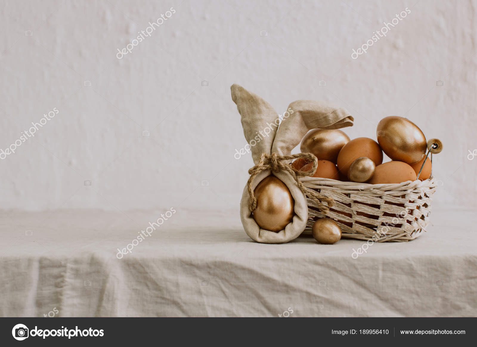 Rustic Happy Easter Funny Eggs Linen Napkin Rural Background Stock Photo