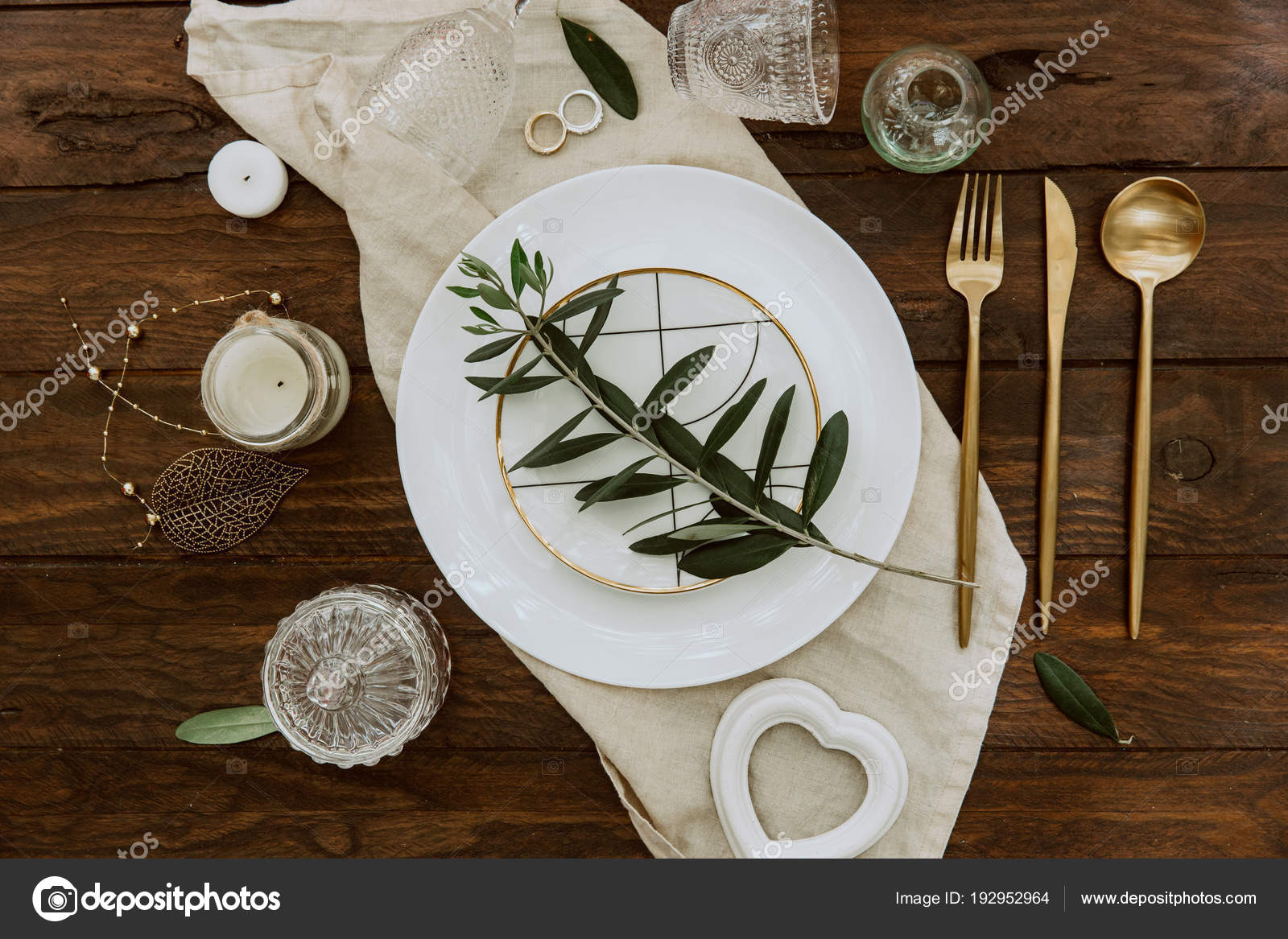 Rustic Wedding Decorated Table Vintage Cutlery Top View Flat Lay