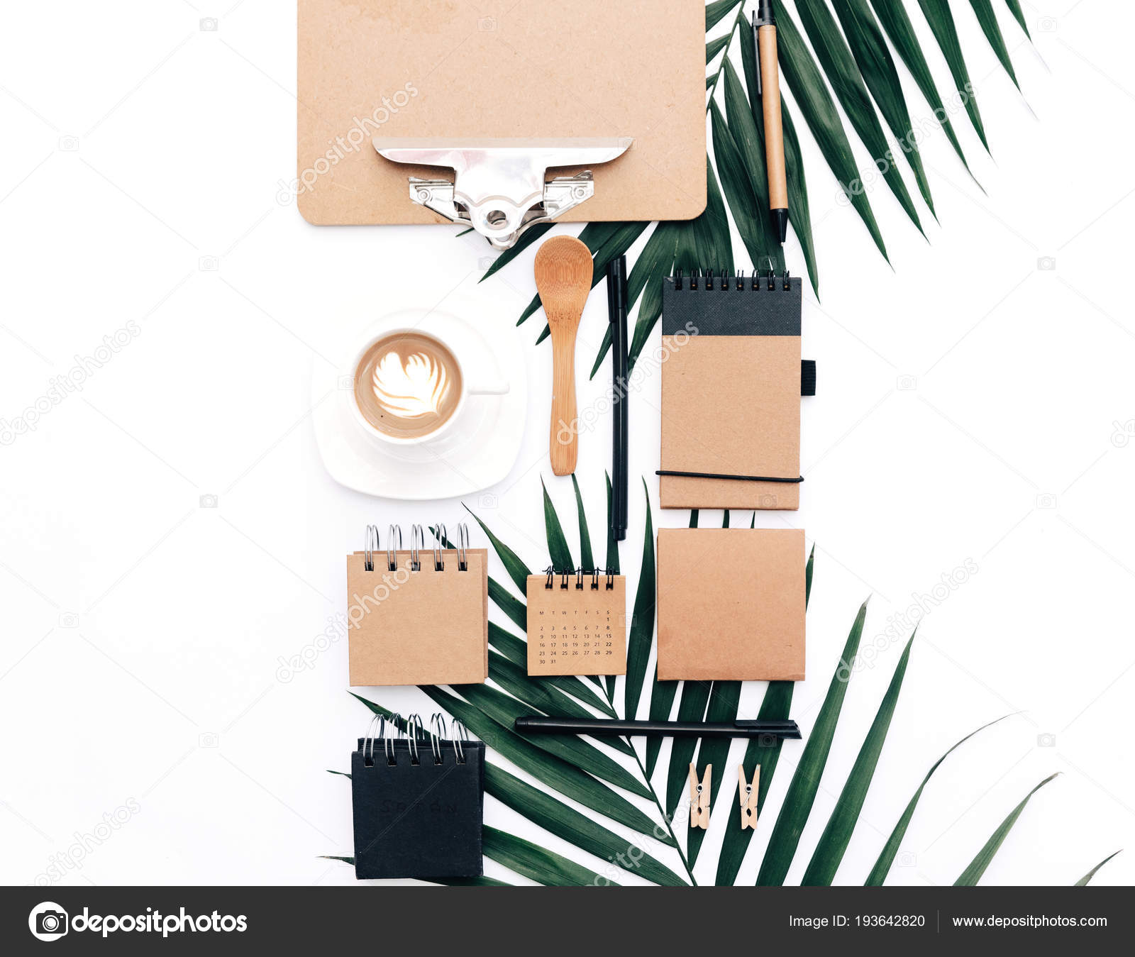 Minimal Office Desk Table Stationery Set Supplies Palm Leaves Top U2014 Stock  Photo