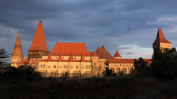 Sunset over Hunedoara castle 4K