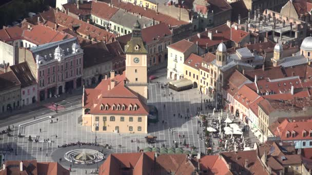 Brasov square, Transylvania, Romania, aerial view