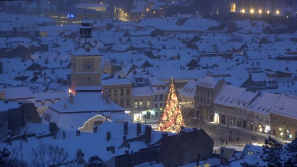 Sparkling Christmas tree in heart of medieval town, Brasov, Romania, up view