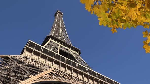Eiffel tower close yellow autumn branch on blue serene sky, beautiful Paris view, romantic city