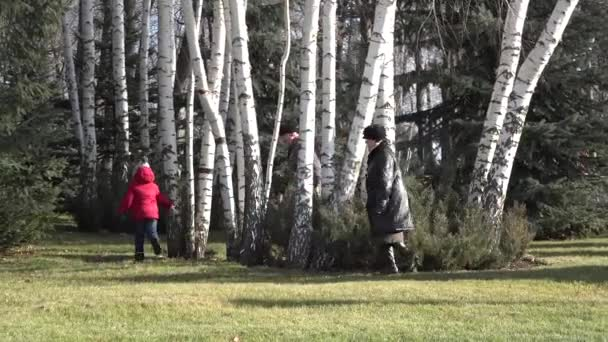 Grandparents and grandchild playing in the park, hide and seek joy