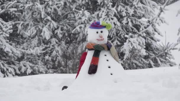 Funny dítě skrytý za sněhulák uspořádat ruku, živý sněhulák, zimní čas, dítě junping za sněhulák