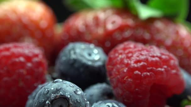 Detail s lesní plody, Malina, jahoda, blackberry, brusinkami a zelené lístečky