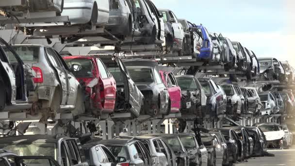Broken cars in junkyard