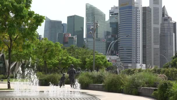 Fountain and statues in central park of Singapore