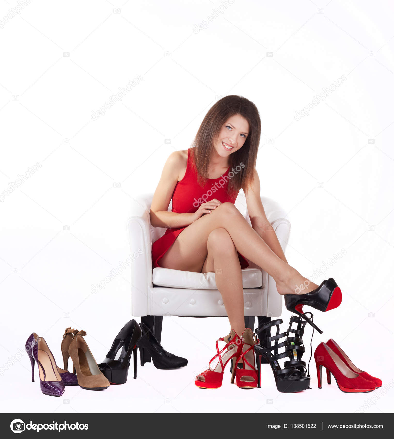 Woman Sitting On Chair And Trying On High Heeled Shoes U2014 Stock Photo