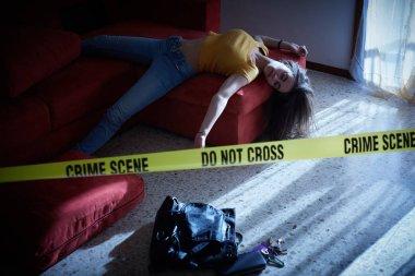 Crime scene simulation. Body of the dead college girl