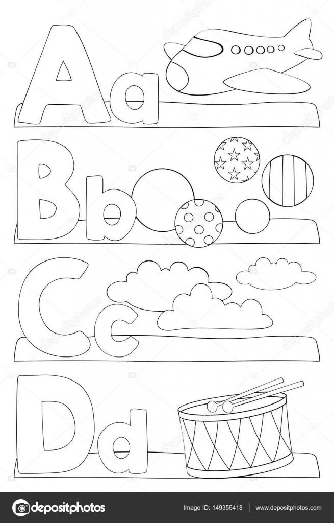 Página para colorear de alfabeto Letras — Archivo Imágenes ...