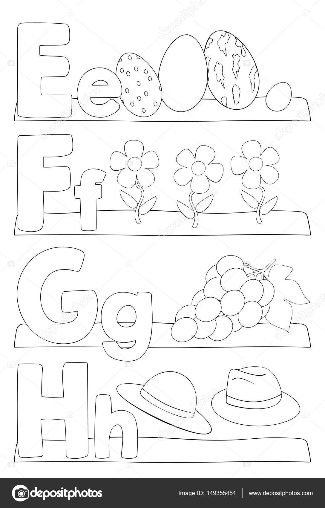 Kleurplaten Letters Alfabet.Alfabet Letters Kleurplaat Stockvector C Pupahava 149355454