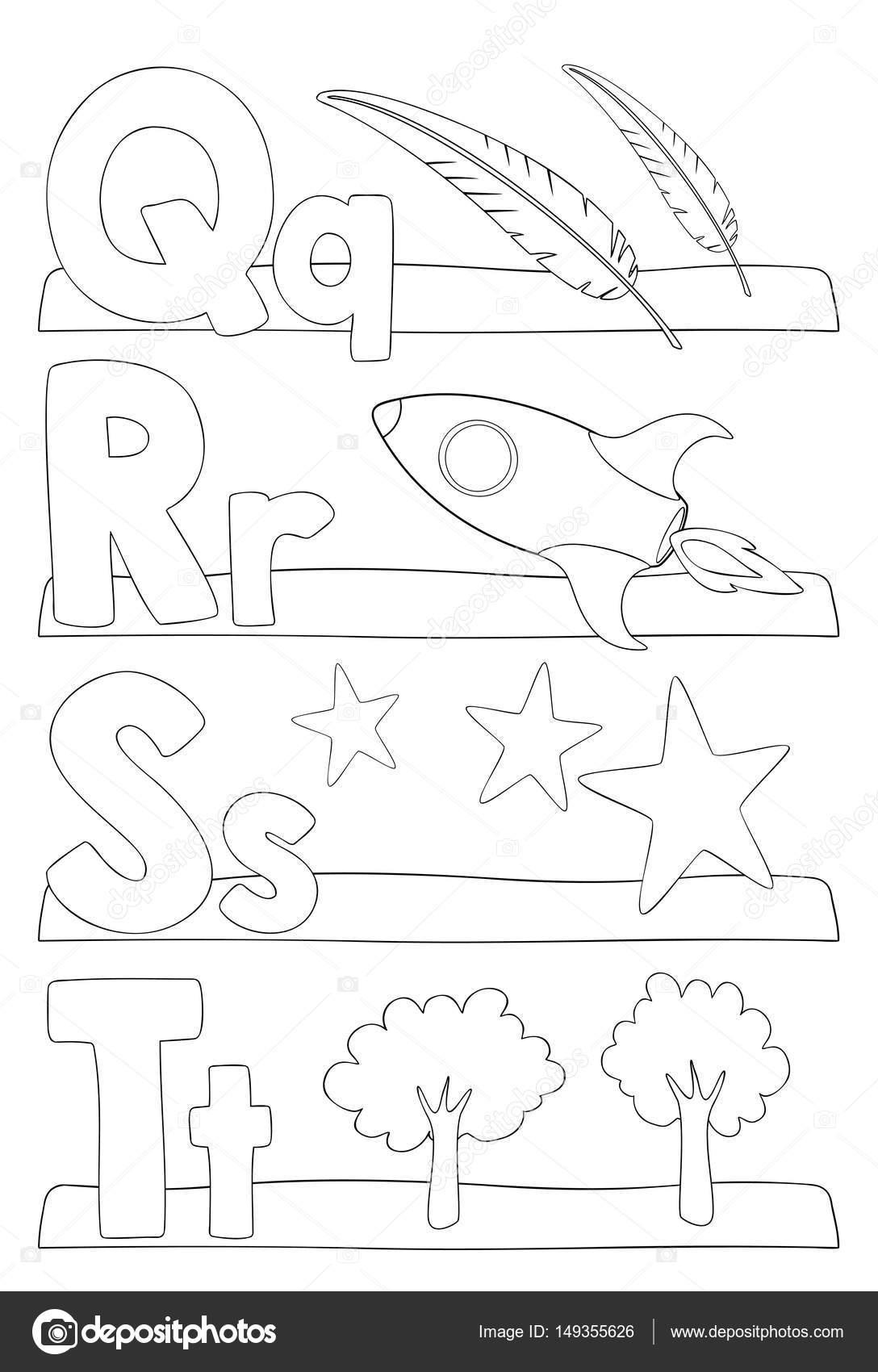 Kleurplaten Met Letters.Alfabet Letters Kleurplaat Stockvector C Pupahava 149355626