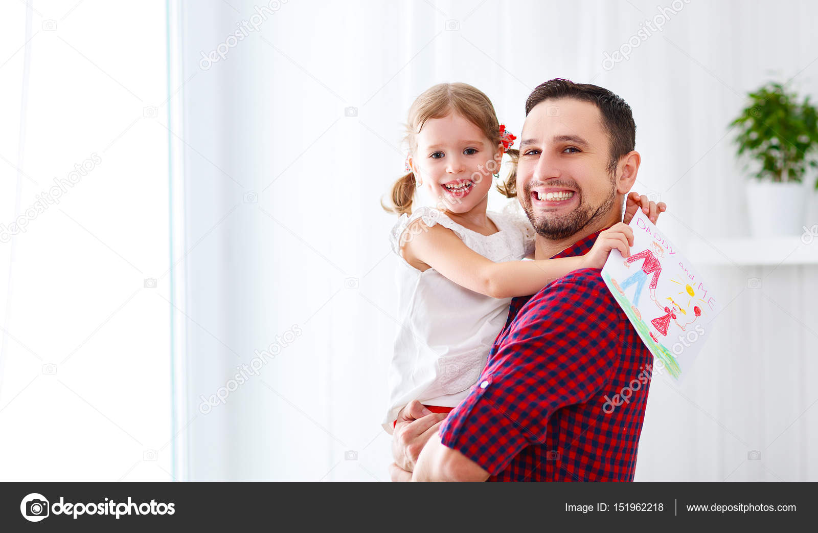 Fathers Day Happy Family Daughter Giving Dad Greeting Card Stock