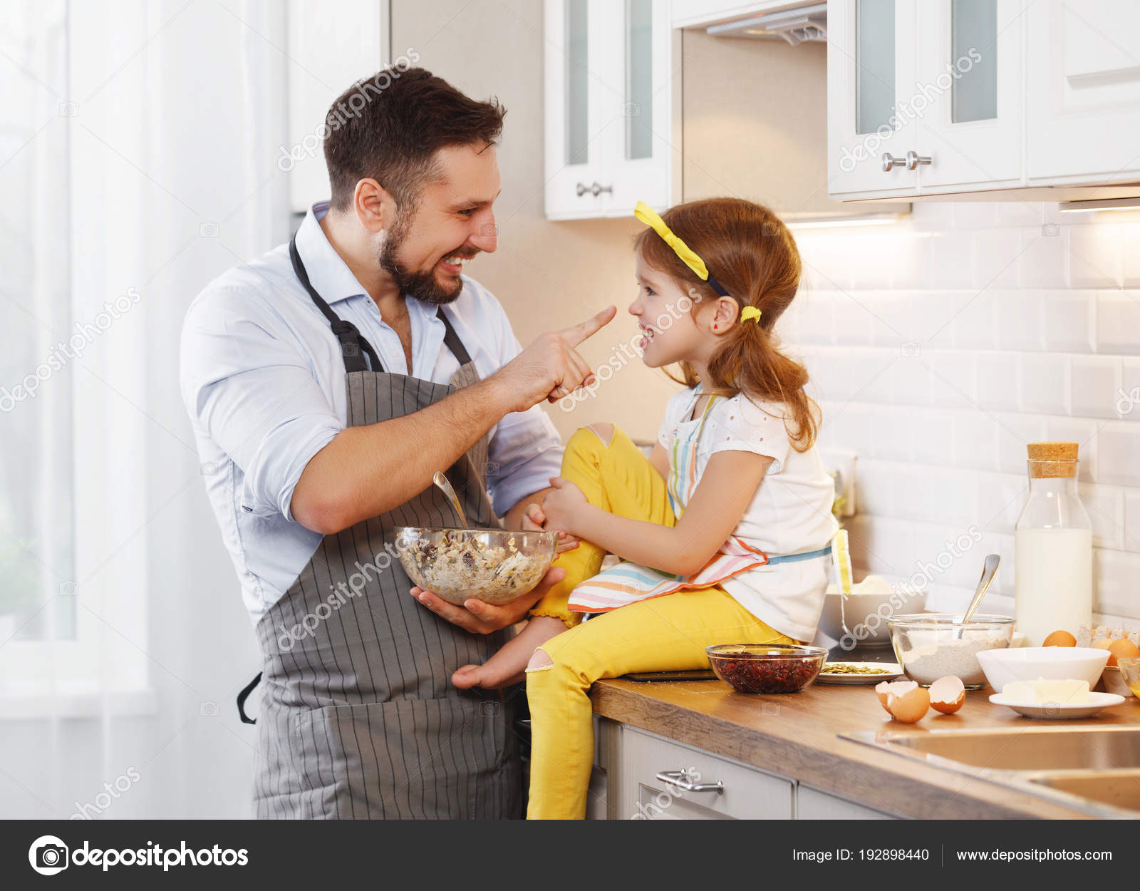 Happy Family Kitchen Father Child Daughter Knead Dough Bake Biscuits U2014  Stock Photo