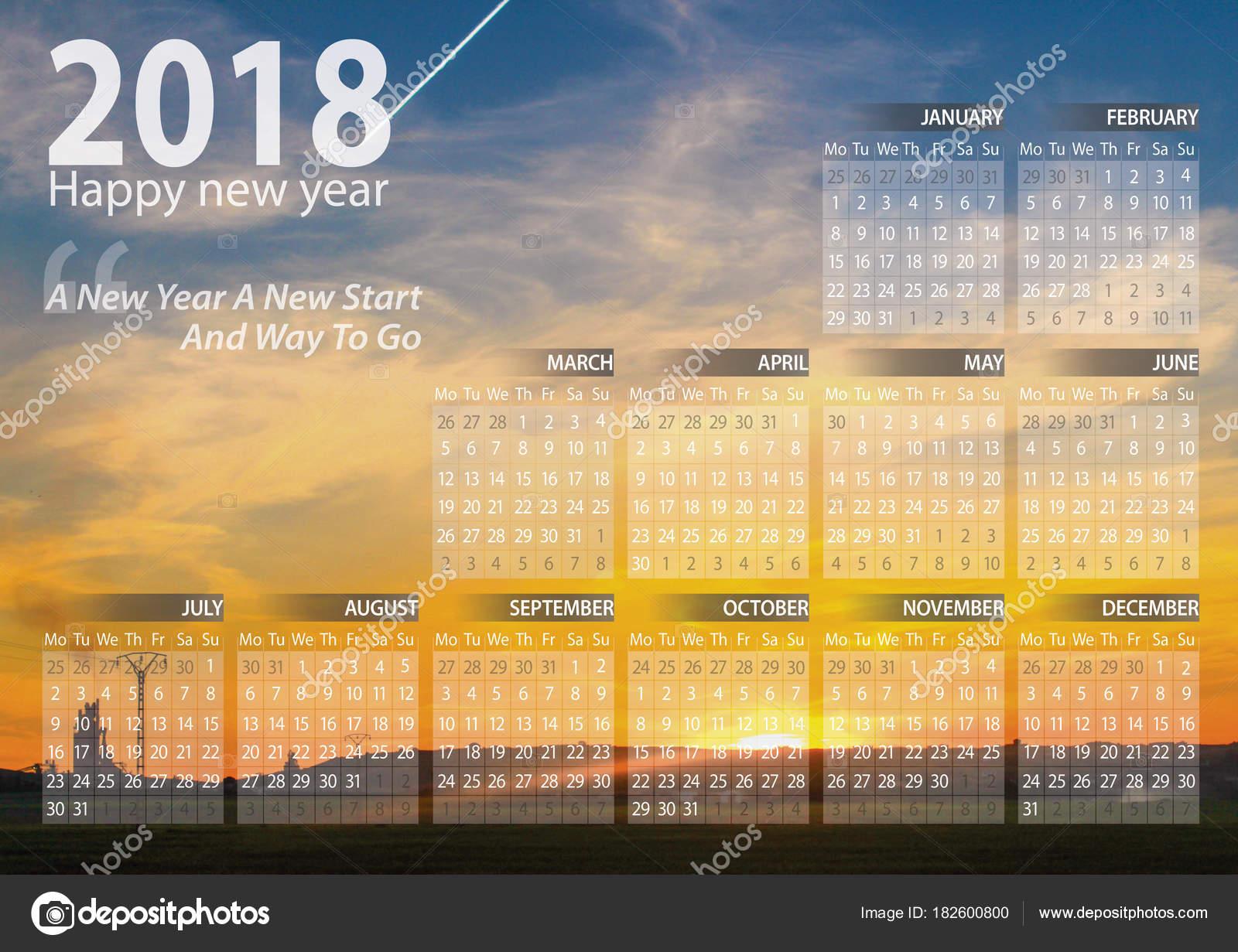 Calendrier Soleil.Bonne Annee Calendrier 2018 Avec Coucher Soleil Arriere Plan