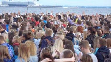 Spectators at a musical concert