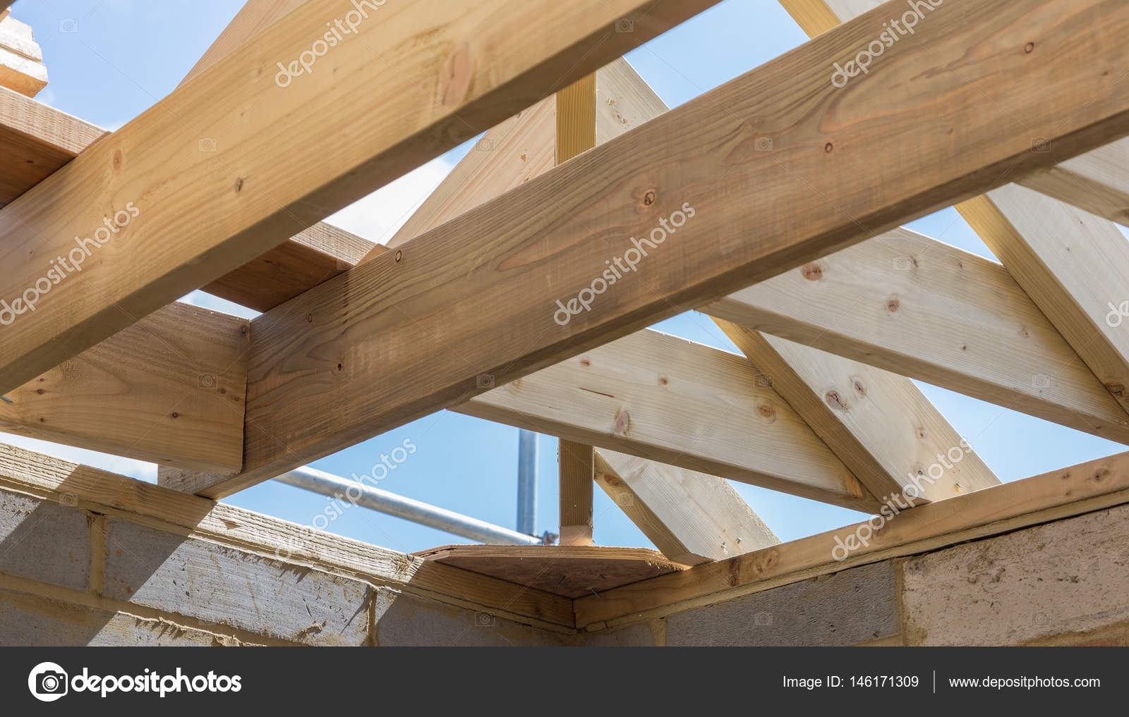 Wooden roof construction details — Stock Photo