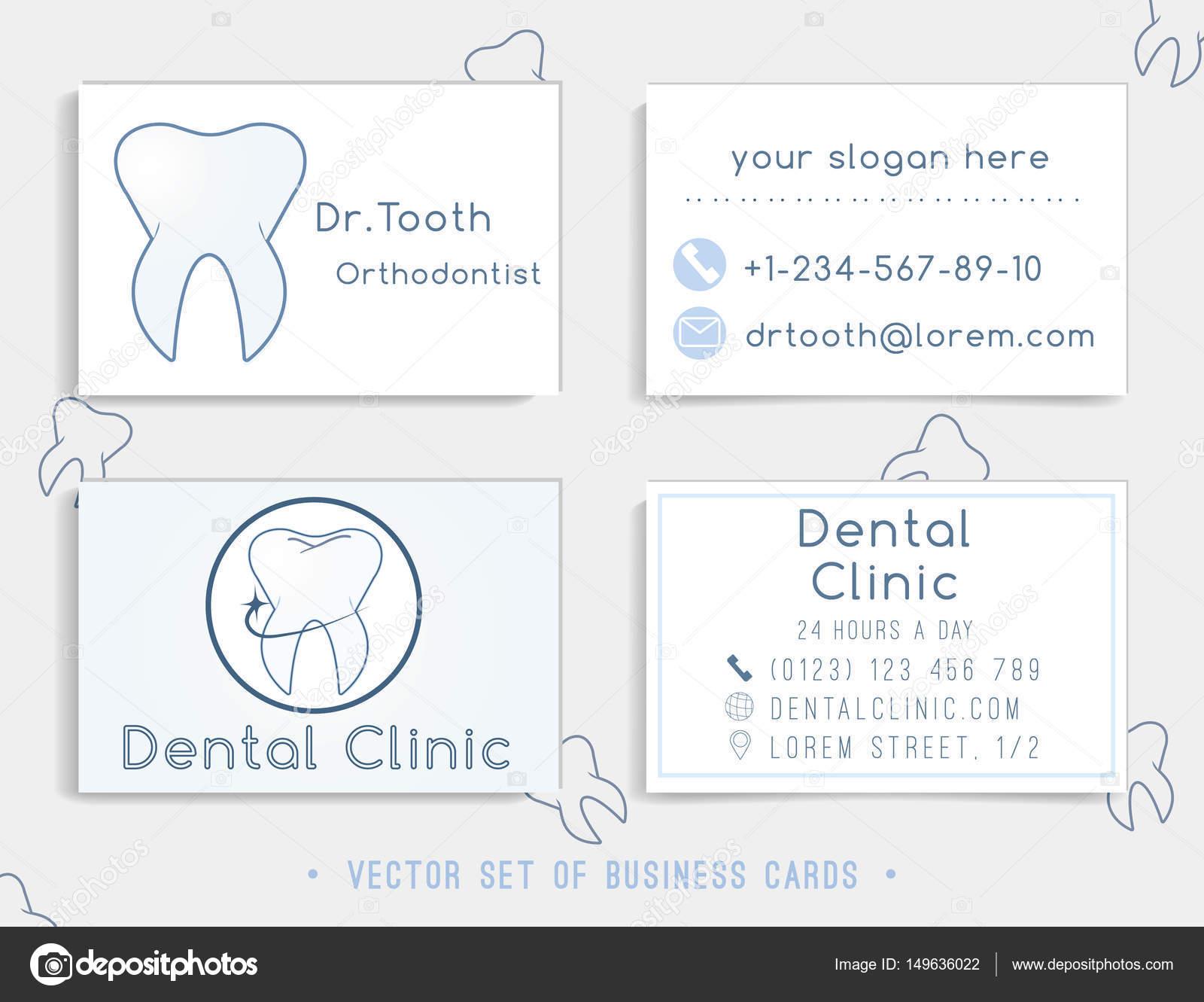 Modle De Carte Visite Pour Votre Cabinet Dentaire La Clinique Ou Le Dentiste Icne Du Logo Dent Illustration Vectorielle Vecteur Par Sofiajune