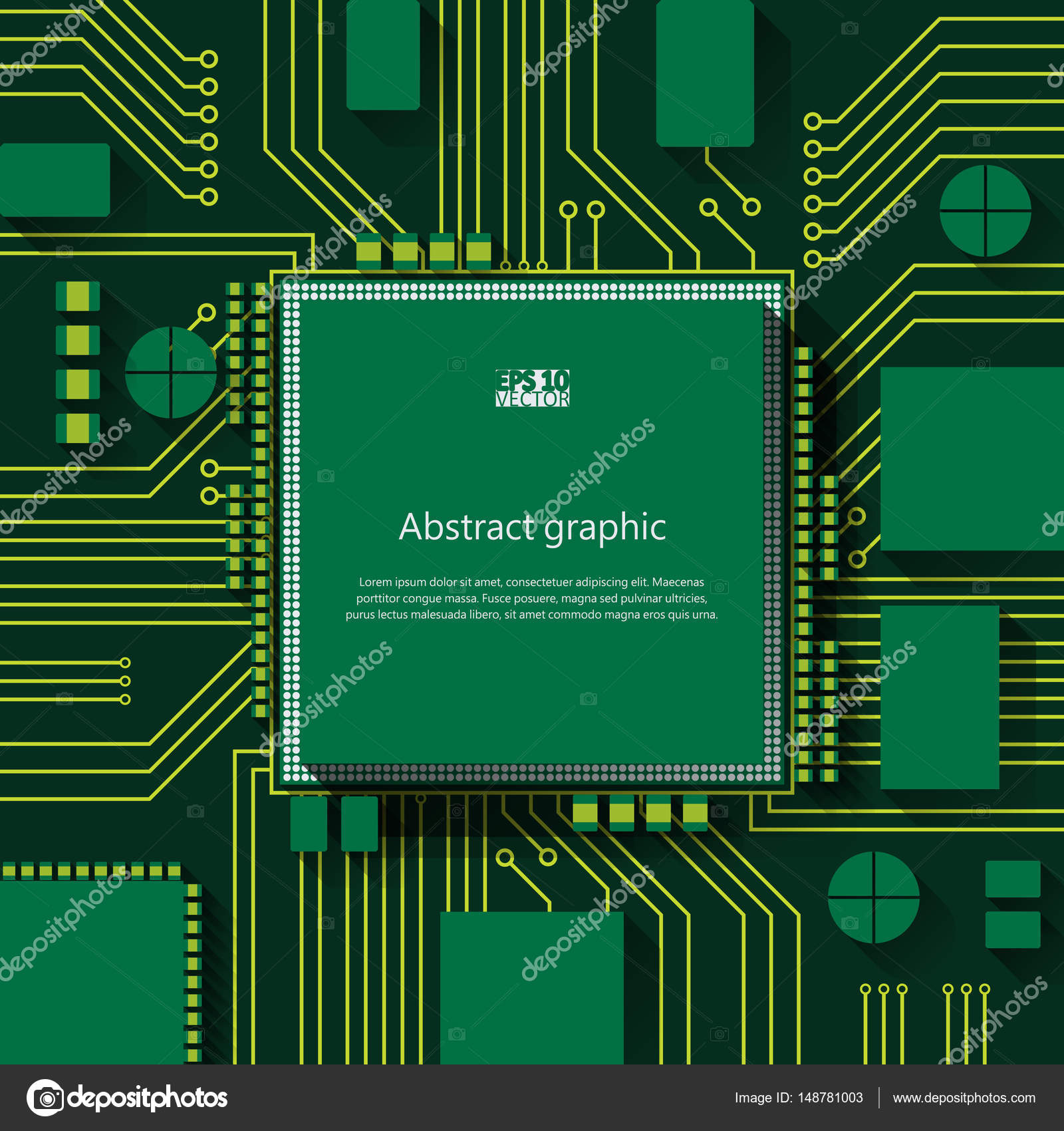 Circuit Board Vector Background Eps10 Illustration Stock Design Over Green