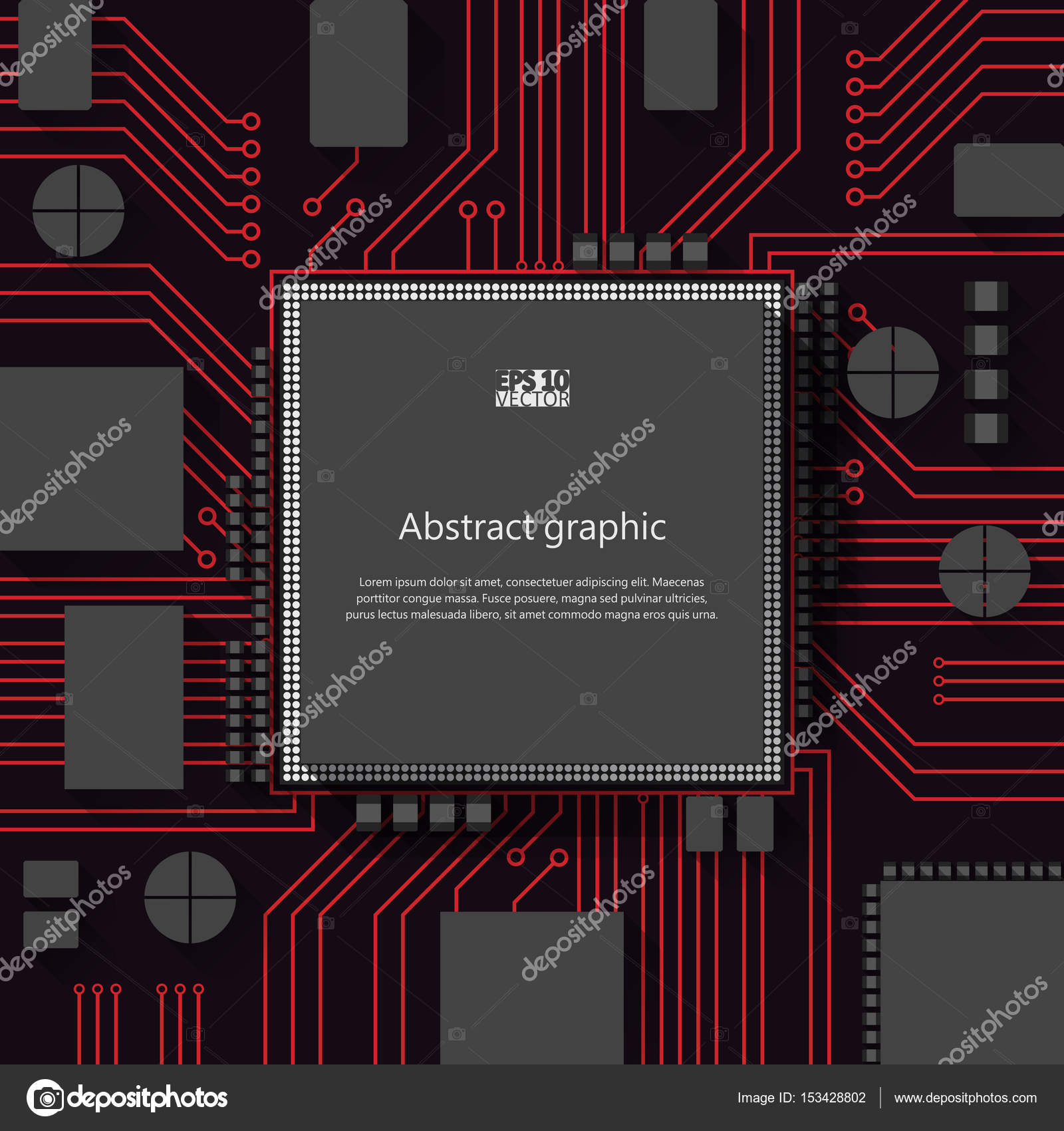 Circuit Board Vector Background Eps10 Illustration Stock Electric Processor Tshirt