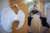 Silueta krásná Černoška s andělskými křídly