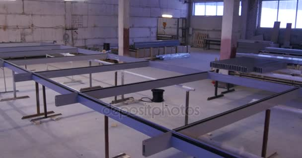Frame for stained glass. manufacture of stained glass. Moving and roll camera on manufacture of glass and windows. UPVC Windows and Doors Manufacturing, Plastic Windows Factory Interrior. Glass Panels