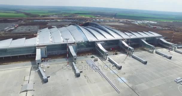 Aerial view of the modern international airport terminal  Traveling around  the world  Empty airport aerial  View of runway at the airport  Airfield  marking on taxiway is heading to runway