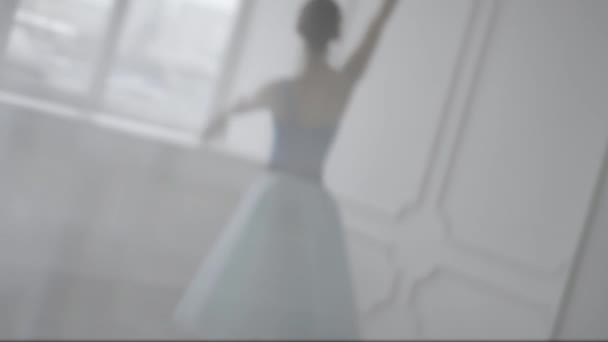 Beautiful Girl Dancer Performs Elements Of Classical Ballet In The Loft Design. Female Ballet Dancer Dancing. Close Up Of A Ballet Dancers Feet As She Practices Point Exercises,slow Motion