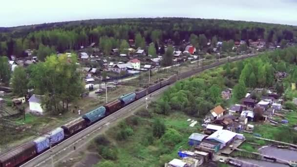 Aerial view on freight train goes through the bridge. train or freight train goes on rails view from sky. View on freight train rides on the tracks near forest. Railway wagons. Transportation