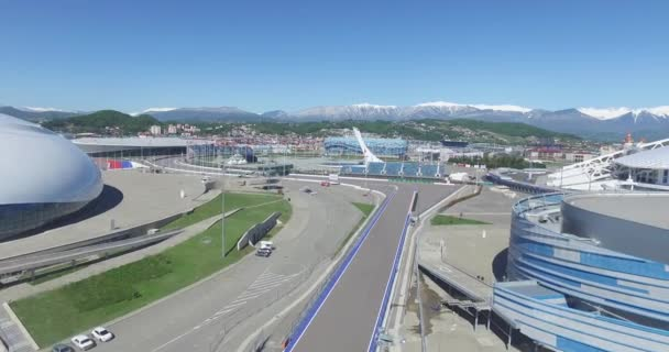 A 2014-es téli olimpia Bolshoy jég kupolája az oroszországi Szocsiban építésének Sochi, Oroszország. Bolshoy ice Palace. Légi főterén olimpiai parkban, Sochi, Oroszország. Egy év után téli XXII.
