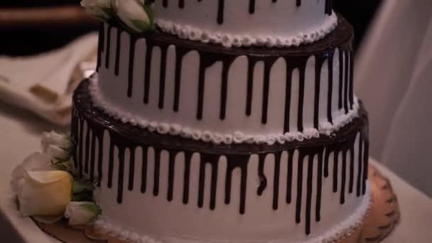 Velké a krásné černé a bílé svatební dort. Multi úrovni bílé svatební dort na stříbrné základní a růžové květy na vrcholu