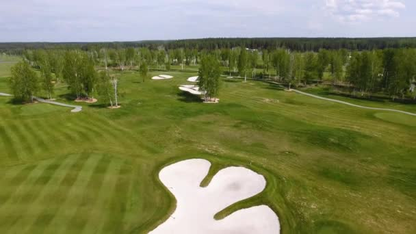 Aerial view Golf course. Sand bunkers at the beautiful golf course.